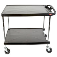 Metro myCart MY2636-25BL Black Utility Cart with Two Shelves and Chrome Posts - 28 inch x 40 inch