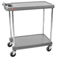 Metro myCart MY1627-24G Gray Utility Cart with Two Shelves and Chrome Posts - 18 inch x 32 inch