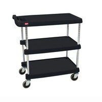 Metro myCart MY1627-34BL Black Utility Cart with Three Shelves and Chrome Posts – 18 inch x 32 inch