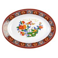 Thunder Group 2114TP Peacock 14 1/8 inch x 10 5/8 inch Oval Melamine Deep Platter - 12/Pack