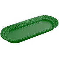 Bon Chef 2310 8 inch x 18 inch Sandstone Calypso Green Cast Aluminum Trellis Fish Platter