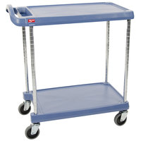 Metro myCart MY2030-24BU Blue Antimicrobial Utility Cart with Two Shelves and Chrome Posts - 24 inch x 34 inch