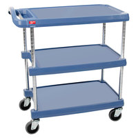 Metro myCart MY1627-34BU Blue Antimicrobial Utility Cart with Three Shelves and Chrome Posts - 18 inch x 32 inch