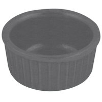 Bon Chef 9024 2 oz. Sandstone Smoke Gray Cast Aluminum Fluted Ramekin