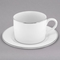 10 Strawberry Street SL0009 6 oz. Silver Line Porcelain Can Cup with Saucer - 24/Case