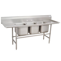 Advance Tabco 94-3-54-36RL Spec Line Three Compartment Pot Sink with Two Drainboards - 127 inch