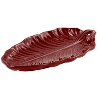 Bon Chef 9800 10 inch x 5 inch Terra Cotta Sandstone Finish Cast Aluminum Leaf Platter