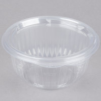 Dart C16HBF PresentaBowls 16 oz. Clear Hinged Plastic Bowl with Flat Lid - 300/Case