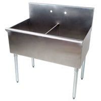 Regency 36 inch 16-Gauge Stainless Steel Two Compartment Commercial Sink without Drainboard - 18 inch x 21 inch x 14 inch Bowls