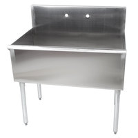 "Regency 36"" 16-Gauge Stainless Steel One Compartment Commercial Sink without Drainboard - 36"" x 21"" x 14"" Bowl"