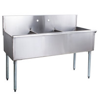 Regency 54 inch 16-Gauge Stainless Steel Three Compartment Commercial Sink without Drainboard - 18 inch x 21 inch x 14 inch Bowls