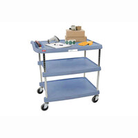 Metro myCart MY2030-34BU Blue Antimicrobial Utility Cart with Three Shelves and Chrome Posts – 24 inch x 34 inch