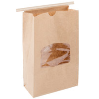 1 lb. Brown Kraft Customizable Paper Cookie / Coffee / Donut Bag with Window and Tin Tie Closure - 500/Case
