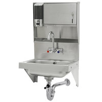 Advance Tabco 7-PS-69 Wall Mounted Hand Sink with Soap and Paper Towel Dispenser - 17 1/4 inch x 15 1/4 inch