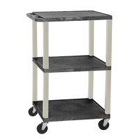 Luxor WT1642E Black Tuffy Open Shelf A/V Cart 18 inch x 24 inch with 3 Shelves - Adjustable Height