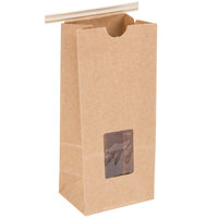 1/2 lb. Brown Kraft Customizable Tin Tie Coffee Bag with Window - 100/Pack
