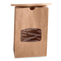 Brown Paper Customizable Cookie / Coffee / Donut Bag with Window and Tin Tie Closure - 50 / Pack