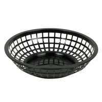 Black 8 inch Round Plastic Fast Food Basket - 12 / Case