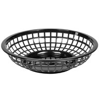 Black 8 inch Round Plastic Fast Food Basket - 12/Case