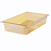 Rubbermaid FG239P00AMBR 1/2 Size Long Amber High Heat Food Pan - 2 1/2 inch Deep