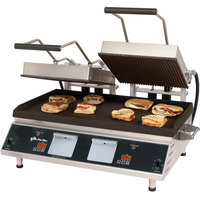 Star CG28IE 14 inch x 28 inch Pro-Max Heavy Duty Grooved Top & Bottom Panini Grill with Electronic Timer