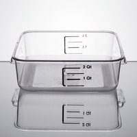 Rubbermaid FG630200CLR 2 Qt. Clear Square Food Storage Container with Liter and Qt. Gradations