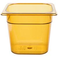 Rubbermaid FG206P00AMBR 1/6 Size Amber High Heat Food Pan - 6 inch Deep