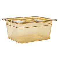 Rubbermaid FG225P00AMBR 1/2 Size Amber High Heat Food Pan - 6 inch Deep