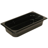 Rubbermaid FG216P00BLA 1/3 Size Black High Heat Food Pan - 2 1/2 inch Deep
