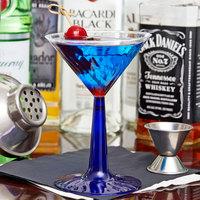 Fineline Flairware 2306-BL 6 oz. 2-Piece Plastic Martini Glass with Cobalt Blue Base   - 12/Pack