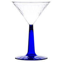 Fineline Flairware 2306-BL 6 oz. Plastic Martini Glass with Cobalt Blue Base - 2 Piece 12 / Pack