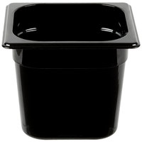 Rubbermaid FG206P00BLA 1/6 Size Black High Heat Food Pan - 6 inch Deep