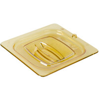 Rubbermaid FG208P23AMBR 1/6 Size Amber High Heat Food Pan Lid with Peg Hole and Handle