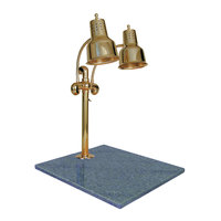 Hanson Heat Lamps DLM/GB/BR Dual Lamp 18 inch x 20 inch Brass Carving Station with Natural Granite Base