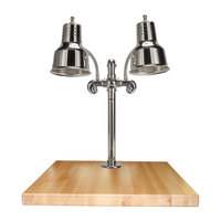 Hanson Heat Lamps DLM/MB-2424/CH Dual Lamp 24 inch x 24 inch Chrome Carving Station with Maple Block and Gravy Lane