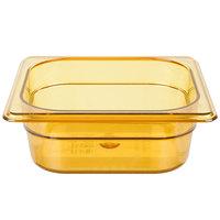 Rubbermaid FG204P00AMBR 1/6 Size Amber High Heat Plastic Food Pan - 2 1/2 inch Deep