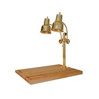 Hanson Heat Lamps DLM/MB-2418/BR Dual Lamp 24 inch x 18 inch Brass Carving Station with Maple Block and Gravy Lane