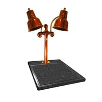 Hanson Heat Lamps DLM/BB/SC Dual Lamp 18 inch x 20 inch Smoked Copper Carving Station with Synthetic Granite Base