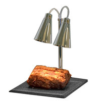 Hanson Heat Lamps DLM/BB/900/ST Dual Lamp 20 inch x 24 inch Stainless Steel Carving Station with 900 Series Shades and Synthetic Granite Base