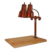 Hanson Heat Lamps DLM/MB-2015/SC Dual Lamp 20 inch x 15 inch Smoked Copper Carving Station with Maple Block and Gravy Lane