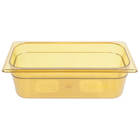 Rubbermaid FG217P00AMBR 1/3 Size Amber High Heat Food Pan - 4 inch Deep