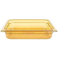 Rubbermaid FG223P00AMBR 1/2 Size Amber High Heat Food Pan - 2 1/2 inch Deep