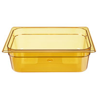 Rubbermaid FG224P00AMBR 1/2 Size Amber High Heat Food Pan - 4 inch Deep