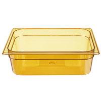 Rubbermaid FG224P00AMBR 1/2 Size Amber High Heat Plastic Food Pan - 4 inch Deep