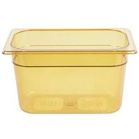 Rubbermaid FG212P00AMBR 1/4 Size Amber High Heat Food Pan - 6 inch Deep