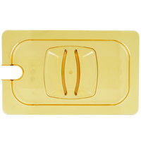 Rubbermaid FG214P86AMBR 1/4 Size Amber Notched High Heat Food Pan Lid with Handle