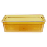 Rubbermaid FG232P00AMBR Full Size Amber High Heat Plastic Food Pan - 6 inch Deep