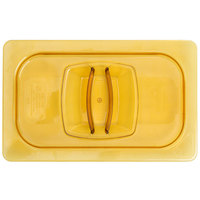 Rubbermaid FG214P00AMBR 1/4 Size Amber High Heat Food Pan Lid with Handle