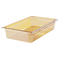 Rubbermaid FG231P00AMBR Full Size Amber High Heat Plastic Food Pan - 4 inch Deep