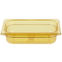 Rubbermaid FG210P00AMBR 1/4 Size Amber High Heat Food Pan - 2 1/2 inch Deep
